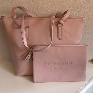 kate spade pink tote and pouch set